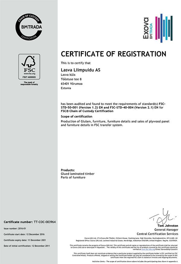 Lasva Liimpuidu AS sertifikaat